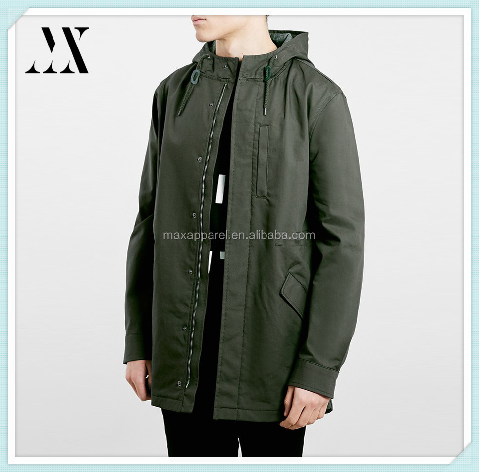 2015 hot selling lightweight olive fishtail parka cotton dry clean front zip parka