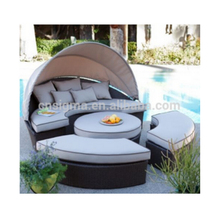 2017 used hotel pool furniture beach cane daybed cheap round beds