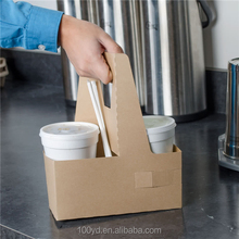 Kraft Paper Coffee Carrier Bags With Cup Holder