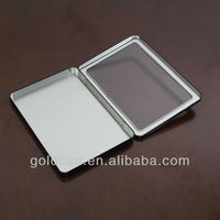 rectangular hinged tin box with clear pvc window