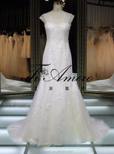 1A070 Delicated Embroidered Back Open Cap Sleeve Sheath Mermaid Tail Wedding Dress Bridal Gown