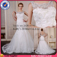 most popular see through neckline with high quality beaded open v back wedding dresses for fat woman