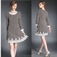 High quality ladies tweed dress, long sleeve lace trim dress retail