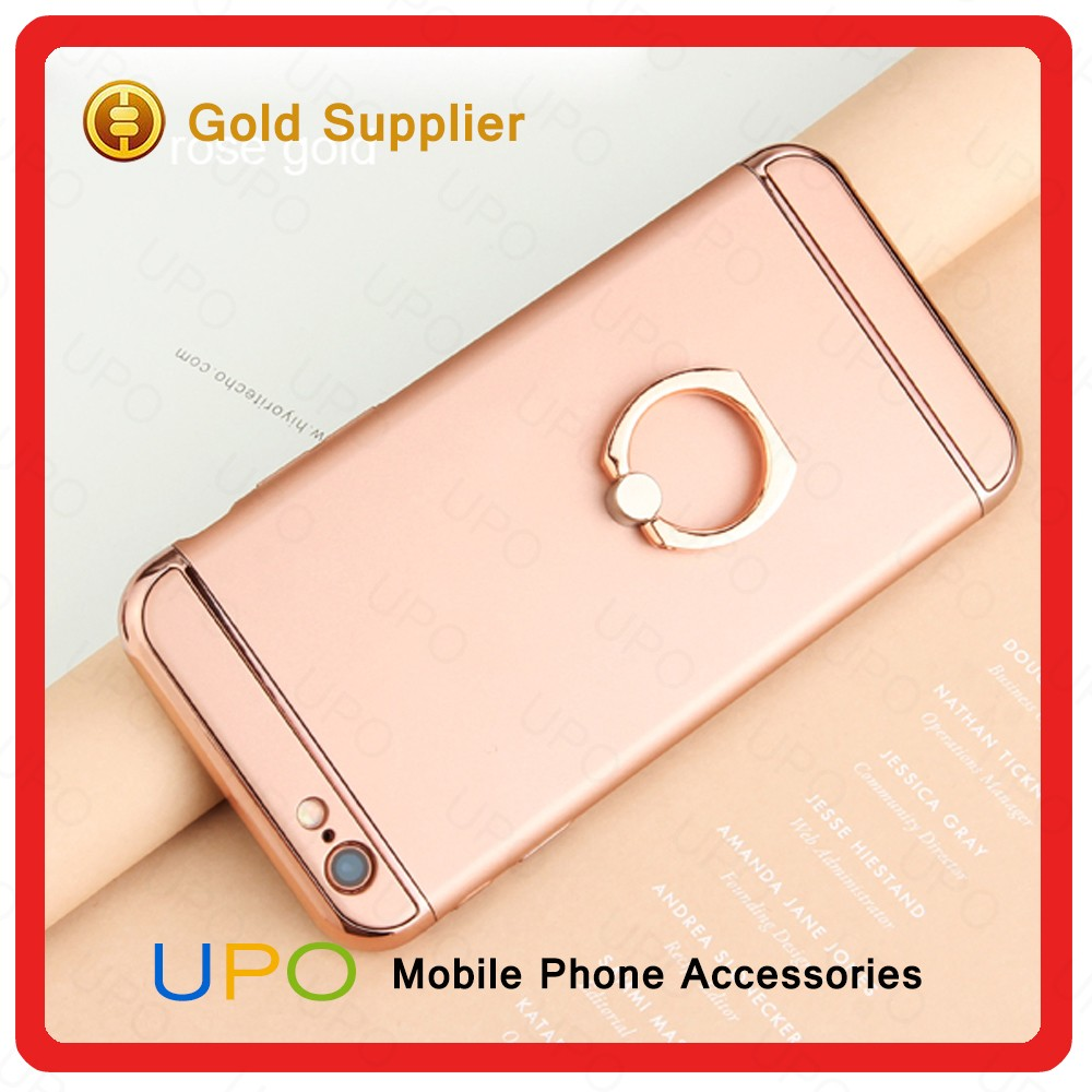 [UPO] 2017 New Product Electroplate Luxury Cell Phone Case with Finger Ring Holder Stand PC Case for iPhone 6