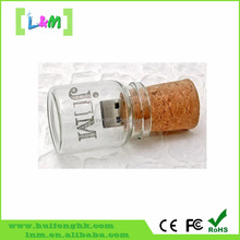 Creative Christmas Gift Glass and Wood Wishing Bottle for Kids USB Flash Drive 32gb
