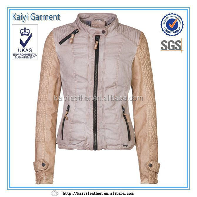 fashion dirty dye brown women wear denim jacket leather sleeves