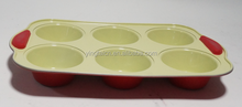 New arrival carbon 6cups ceramic coating muffin pan with silicone handle