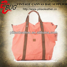 Latest large twill Cotton and leather Travel tote Bag Weekend Bag for ladies neon bags for teens girls
