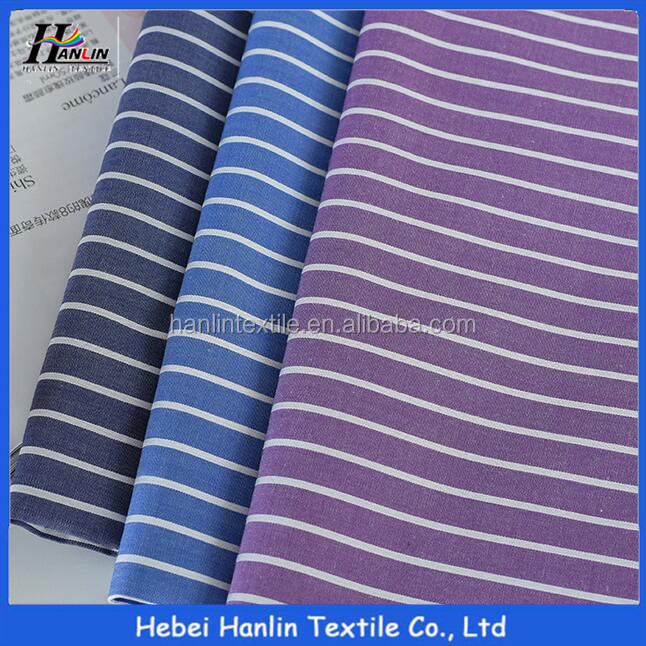 100% cotton yarn dyed black and white stripe thin shirting fabric
