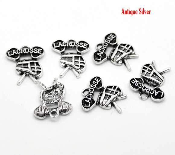 Antique Silver Lacrosse Charms Pendants 19x16mm(3/4x5/8), 30pcs,Hottest