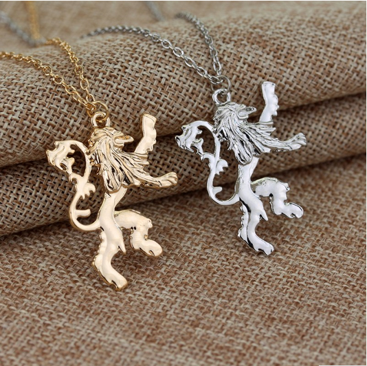 Game of Thrones Lannisters Pendant Necklace Gold/Silver plated Lion Pendant Necklace Link Chain Men High Quality Jewelry