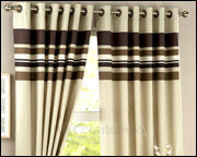 Poly cotton satin printed lined curtains