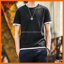 Popular two tone 100% cotton men's t-shirts/Young round collar slim-fitting t shirt in the style of Korea