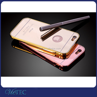 New phone product for iphone 6s metal bumper mirror hard back electroplating cell phone case