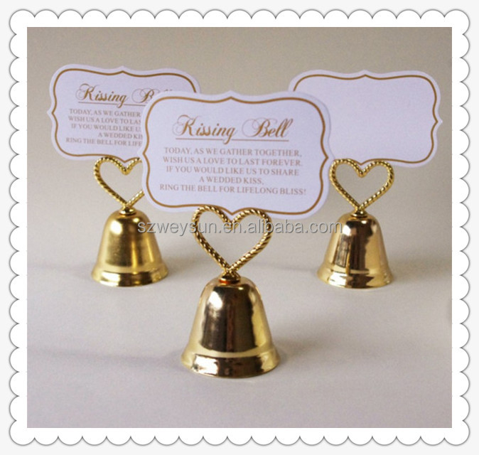 Gold color kissing bell wedding place card holder table name picture holder
