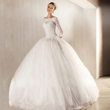 LY30 2016 Ball Gown Soft Tulle wedding dress with Emroidered Lace Sequins Beads Crystals Boat Neck 3/4 Sleeves