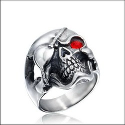 Free Shipping Personalized 316l Stainless Steel Punk Gothic Pirate One - eyed Skull Head Men Ring