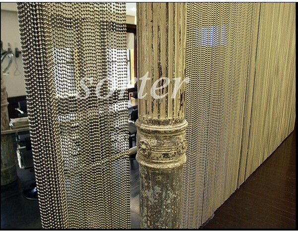 Sorter's decorative metal ball chain curtain for room divider