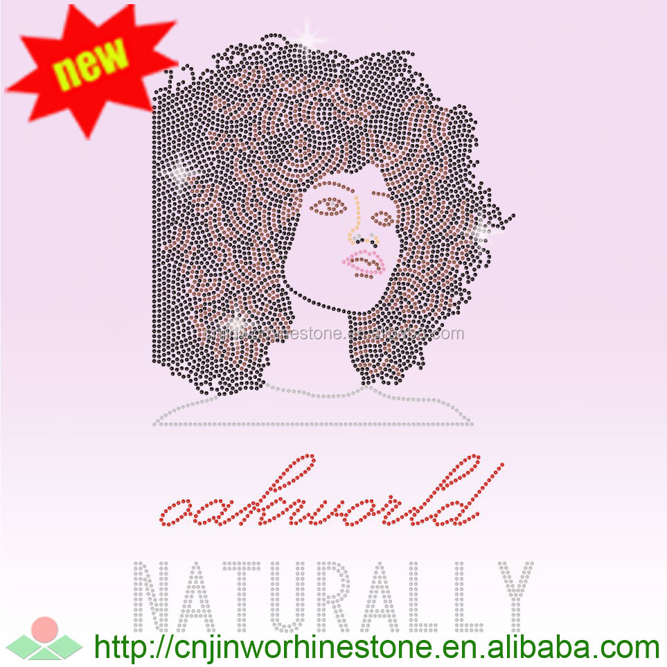 Fashion Afro Girl Hotfix Crystal Motifs heat Rhinestone transfer for women
