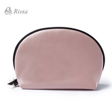 Promotional Eco Friendly waterproof ladies leather gift cosmetic bag custom plain makeup bag with pearl zipper