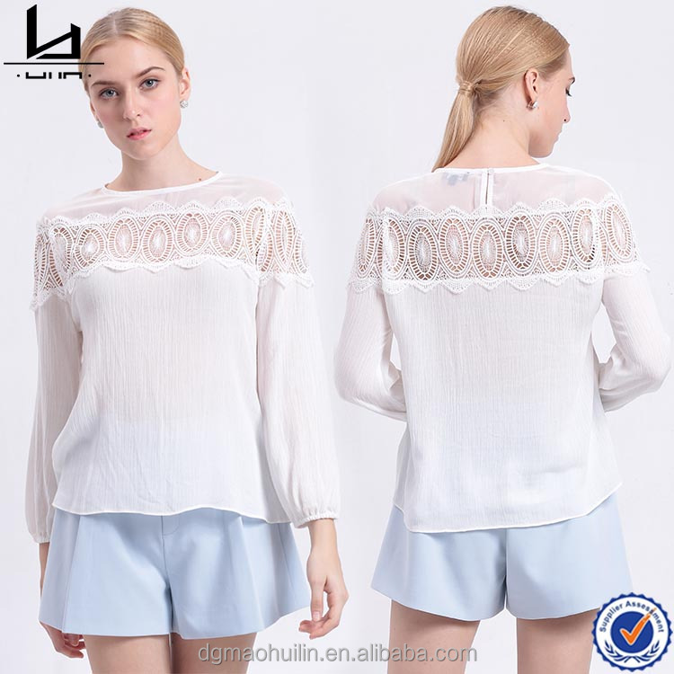 wholesale fashion clothing o neck short sleeve white fabric lace ladies blouses and tops