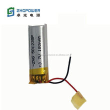 Chinese factory rechargeable li-polymer battery 501235 180mAH 3.7V