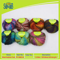 low price 50% wool and 50% acrylic slub knit yarn