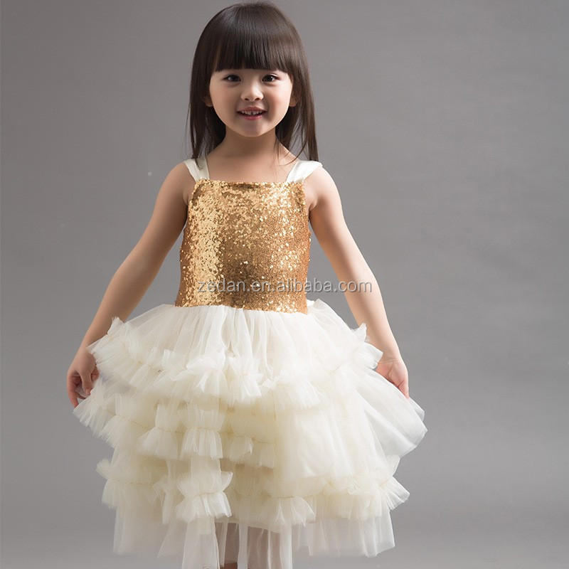 Latest children frocks designs sequin children girl long smocked dress baby girl picture
