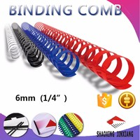 "6mm 1/4"" office supplies plastic book spiral binders binding comb ring"