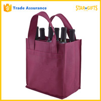 Custom Logo Printed Eco Friendly Non Woven 6 Bottle Wine Bag With Sturdy Handles