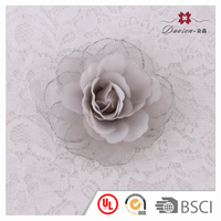 Exceptional Quality Top Sale Fashion Grey Silk Chiffon Flower Hair Clips For Lady