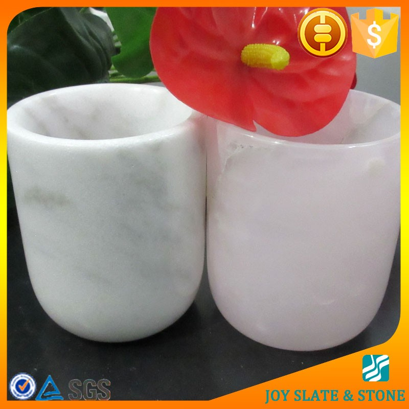 China factory pink marble cups/stone candle jar