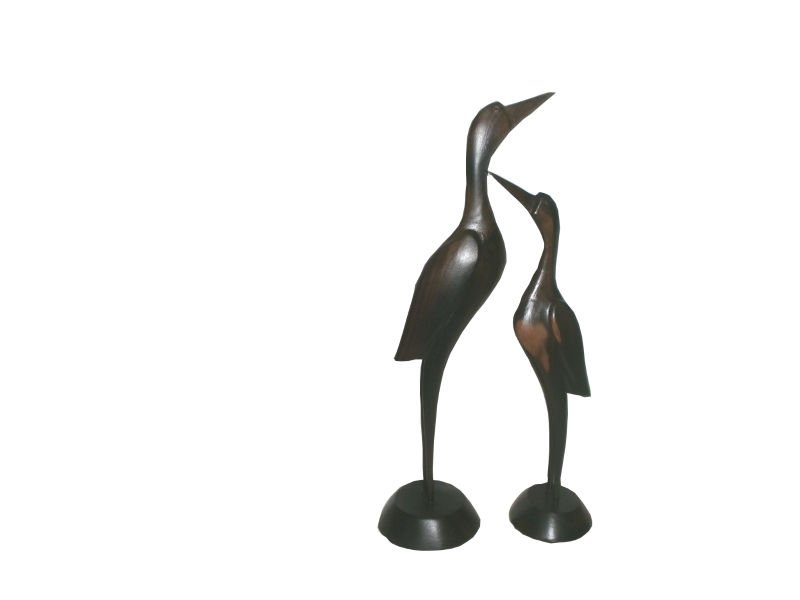Pair of Ebony Hand Carved Flamingo