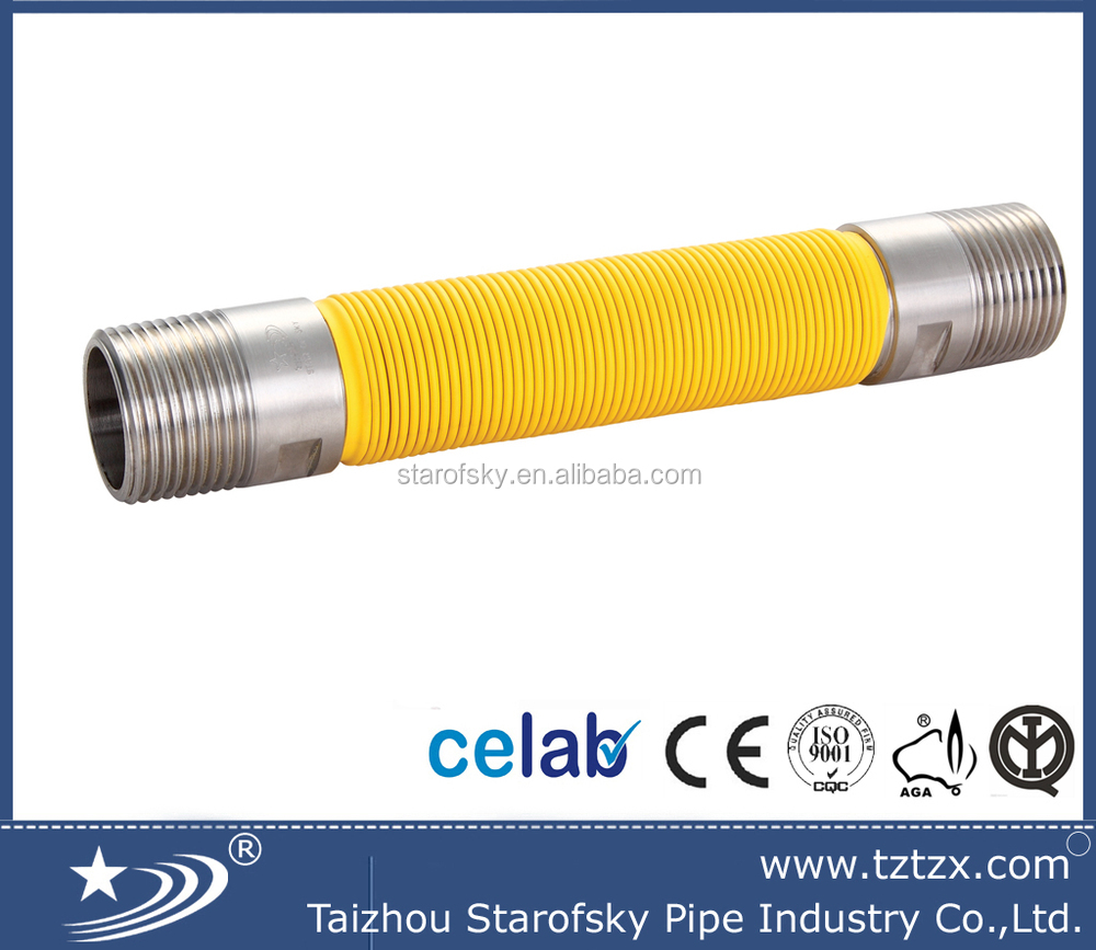 Flexible <strong>stainless</strong> steel metal 304/316 natural gas hose/pipe/tube with yellow PE cover