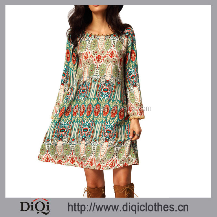 Women Vintage Crew Neck DRESS, Print V Back Shift Long Sleeve Loose Tunic WOMEN BEACH DRESS