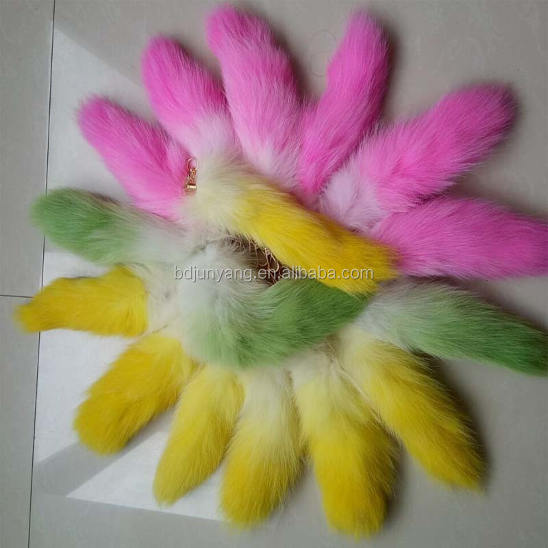 cheap fur fox tail keyrings/dyed fox tails/keychain tail fox