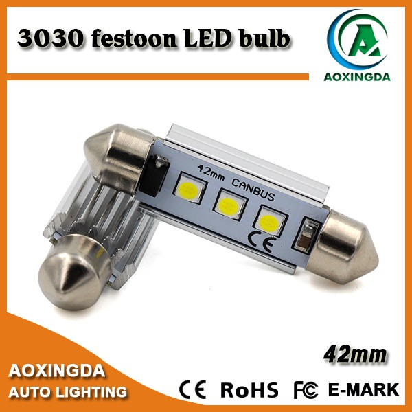 10~30V error free 42mm 211-2 high power 3030 SMD festoon LED bulb for license plate lights