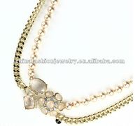 Exquisite Elegant Gold Long Pearl Chain Flower Necklace