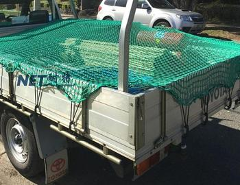 High strength trailer net with elastic rope