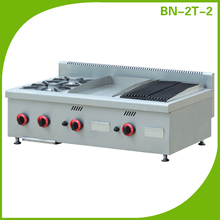 Commercial 2 burners gas cooking range with griddle and lava rock grill