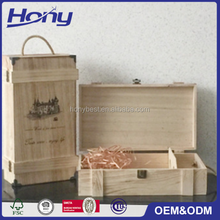 Custom 2 Glass bottles Holder Small Wholesale Cheap Wooden Wine Crates for Sale