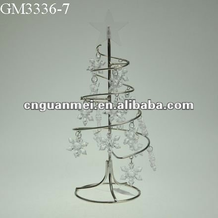 Metal spiral christmas tree with small plastic snowflakes