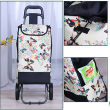 Wholesale Foldable 600D Oxford cloth Shopping Trolley Bag With Wheel, Grocery Folding Shopping Cart
