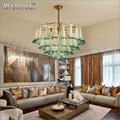 MEEROSEE Modern Green & White Peacock Feather Wedding Chandelier Lights Luxury Hotel Project Pendant Lighting Fixture MD85513