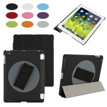factory outlet 360 Rotation handheld case Folio Stand PU smart Front cover for iPad