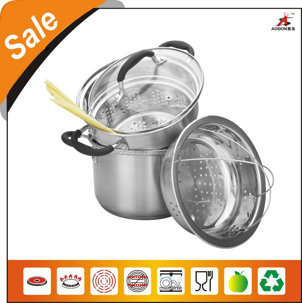 high quality stainless steel silicone handle pasta cookware