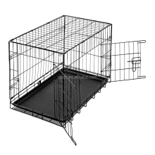 double door folding dog crate cage kennel with Removable tray