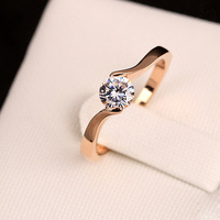 Simple Ring with AAA zircon jewelry of Single one Diamond ring latest wedding ring designs