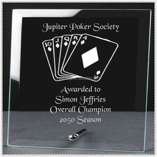 Glass Standing Custom Poker Plaques For Game Awards