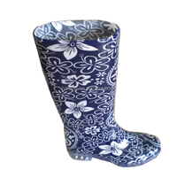 ladies blue and white porcelain print PVC rain boots,fashion outdoor waterproof long boots,safety durable plastic boots